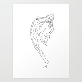 Minimal one line art poster of woman's figure Art Print