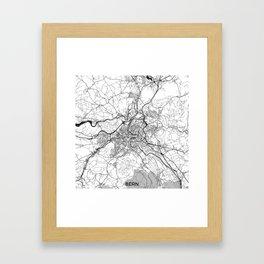 Bern Map Gray Framed Art Print