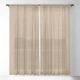 Tan, Plum and Green Watercolor Design Sheer Curtain