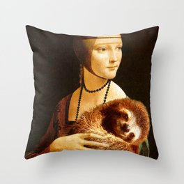 Lady With A Sloth Throw Pillow