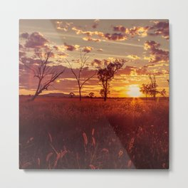 As the Sun Sets in the Heartland Metal Print