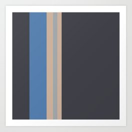 A supreme amalgam of Charcoal Grey, Khaki (Html/Css) (Khaki), Cool Grey and Cyan Azure vertical stripes. Art Print