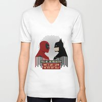 suit V-neck T-shirts featuring Red suit by Daniac Design