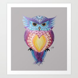 Henna Owl Art Print