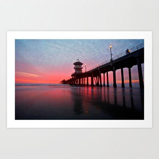 Christmas Sunset 2012 ~ Huntington Beach Pier, CA Art Print