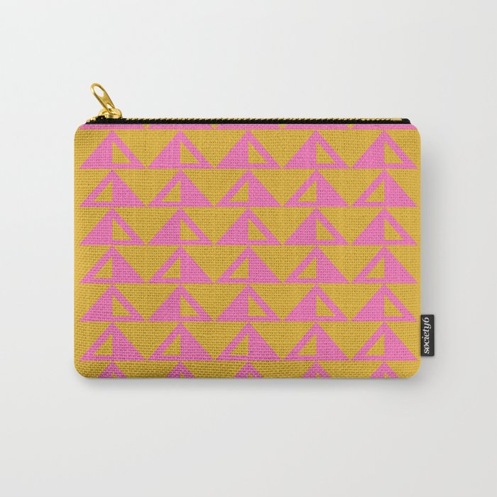 Geometric Triangle Pattern in Sunny Yellow and Neon Pink Carry-All Pouch