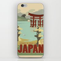 travel poster iPhone & iPod Skins featuring Kaiju Travel Poster by Duke Dastardly