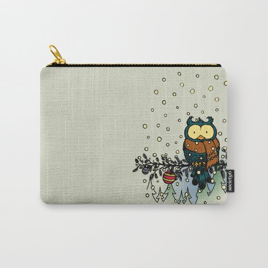Owl in the snow v2 Carry-All Pouch