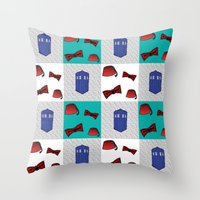 fez Throw Pillows featuring Red  & Teal Fez & Bow Tie Quilt Blocks by Bohemian Bear by Kristi Duggins