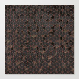 Copper Gold and Black Hexagons Geometric Pattern Canvas Print