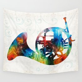 Colorful French Horn - Color Fusion By Sharon Cummings Wall Tapestry