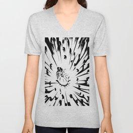 Large Chrysanthemum - BWScale Unisex V-Neck