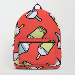 Bubble Tea Pattern in Red Backpack