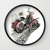 vespa Wall Clocks featuring Vespa by Mariqui Romero