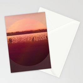 Vintage Coral Sunset, Winter Beach Stationery Cards