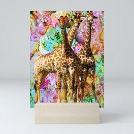 GIRAFFE TRIO Mini Art Print