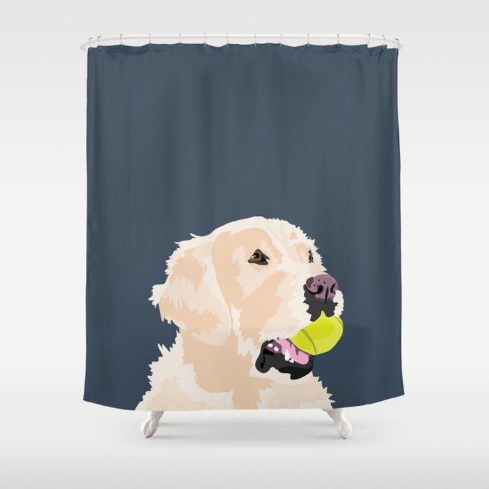 Golden Retriever With Tennis Ball Shower Curtain