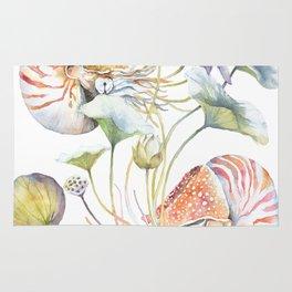 Nautilus and Lotus Surreal Watercolor Sea Animal Botanical Design Rug