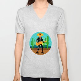 Mexican Mariachi in Desert Circle Retro Unisex V-Neck