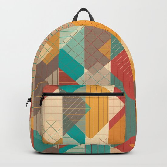 Geometric Geek Pattern - Squares, Stripes, Grids Backpack