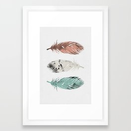 Pastel Feathers Framed Art Print