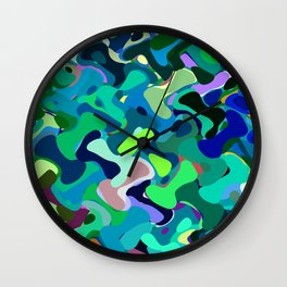 Deep underwater, abstract nautical print in blue shades Wall Clock