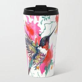 Flying Hummingbird and Pink Flowers Travel Mug