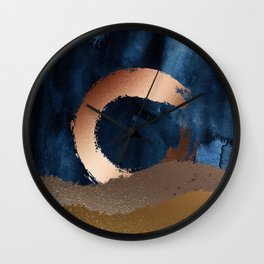Navy Blue, Gold And Copper Abstract Art Wall Clock
