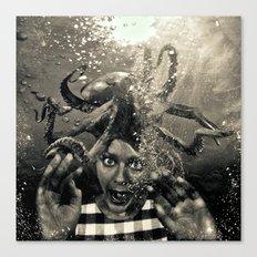 Underwater Nightmare Black and White Canvas Print