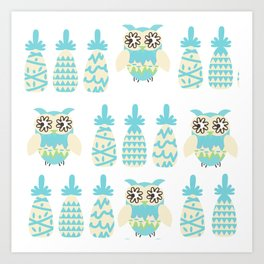 Owls and pineapples Art Print