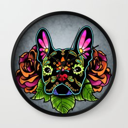 French Bulldog in Black - Day of the Dead Bulldog Sugar Skull Dog Wall Clock