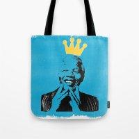 mandela Tote Bags featuring King Mandela by César Ovalle