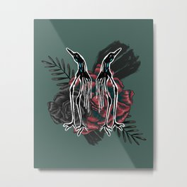 Strange Stylized Birds With Roses Metal Print