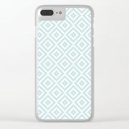 Aztec Block Symbol Ptn Blue & White I Clear iPhone Case