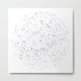 Constellation Map - White and Indigo Metal Print