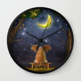 Illustration of a elephant on a bench in the night forest  Wall Clock