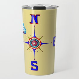 A Nautical Compass Rose with Ship Travel Mug
