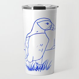 Atlantic Puffin Watercolor Line Drawing Travel Mug