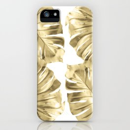 Gold Monstera Leaves on White iPhone Case