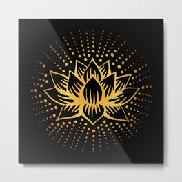 Golden Lotus Mandala Metal Print