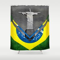 brazil Shower Curtains featuring Flags - Brazil by Ale Ibanez