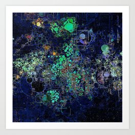 Dark Indigo Turquoise Abstract Design Art Print