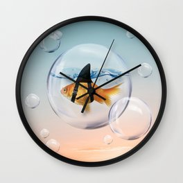 Shark Fin Goldfish in a Bubble Wall Clock