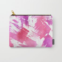 Hand painted pink purple watercolor brushstrokes pattern Carry-All Pouch
