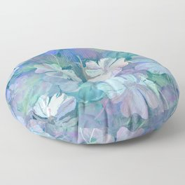 Painterly Midnight Floral Abstract Floor Pillow