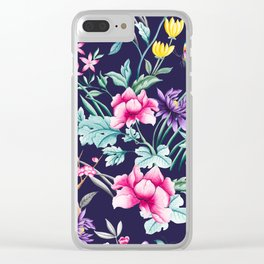 Chinoiserie french navy floral Clear iPhone Case