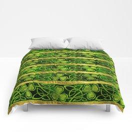 Irish Shamrock -Clover Gold and Green pattern Comforters