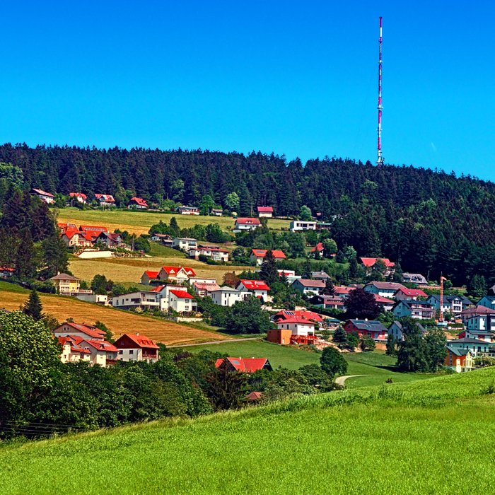 Green grass, the village and a transmitter pole Comforters