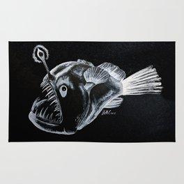 Sinister Anglerfish White on Black Rug