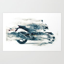 Dynamic motorcycle Art Print